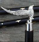 Chrome Brass Antique Designer Handle Victorian Walking Cane Stick Vintage Bird