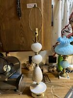 """Vintage Hobnail White Milk Glass And Wood Electric Table Lamp 29"""""""