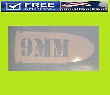 9MM BULLET DECAL STICKER VINYL BUMPER Caliber 2nd Amendment NRA Tactical Gun CCW