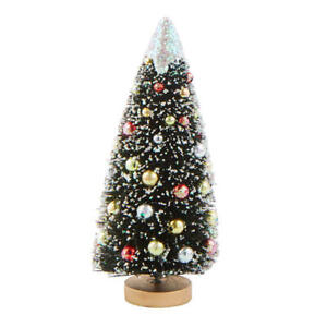 Frosted Decorated Bottle Brush Trees | Set of 2