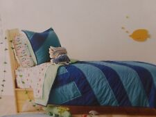 3 pc Pillowfort Water Colors Surf Twin Quilt, Sham, and Deco Pillow Set NIP