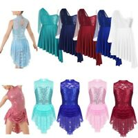 Girls Lyrical Dress Sequined Ballet Dance Leotard Gymnastics Skating Dancewear