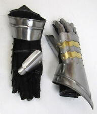 Christmas Presents Xmas Gifts Medieval Gauntlets w Brass Plate Pair Role Play