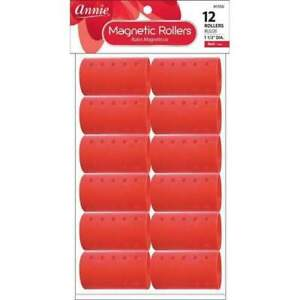 """Annie Magnetic Rollers - Create Smooth Defined Curls - 1 1/2"""" 12-Pack Red #1356"""