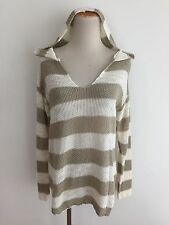 Lucky Brand Linen-Blend Knit Hoodie Sweater Ivory & Taupe Size M