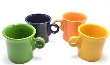 Fiestaware 4 Mugs Shamrock Daffodil Cobalt Tangerine Tom and Jerry Round Handle