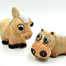 Vintage 1970's Bug Eyed Hippo & Horse Ceramic Clay Pottery Figurines Japan