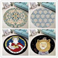 Vintage Round Area Rug Bedroom Carpets Living Room Floor Mat Non Slip Washable
