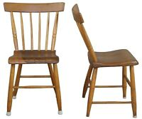 """2 Antique Early American Pine Spindle Back Side Chairs Country Farmhouse 31"""""""