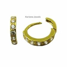 Ethnic Indian White CZ Hinged Hoop Nose Ring clicker Nase stud 14k Real Gold