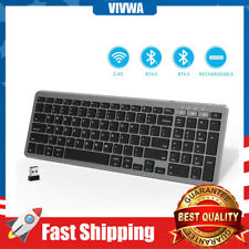 Wireless Bluetooth Keyboard Rechargeable Dual Mode Slim Compact Multi Device