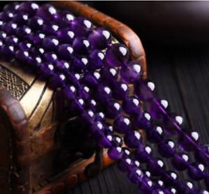 Natural 4/6/8/10/12/14MM Purple Amethyst Round Gemstone Loose Beads 15''AAA