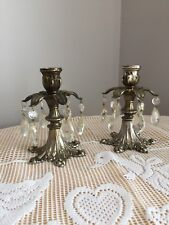 Vintage Brass Ornate Candle Holders with Tear Drop Prisms