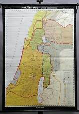 old pull-down wall chart, geography, map, religion, Palestine, bible