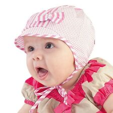 BRAND NEW LIGHT AIRY TIED SUMMER HAT/CAP GIRL/TODDLER/BABY WITH CUTE BOW 0-9M