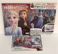 3 Disney Frozen II Jumbo Coloring & Activity Book, Crayons & Sticker Story Elsa