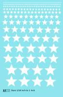 K4 HO Decals Five Point Stars 1/16 To 1 Inch White