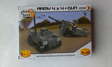 Childrens Click Brick military army 4x4 + artillery field gun & figure~5+yrs~
