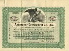 New York 1918 Automotive Development Company Stock Certificate Antique Cars #2