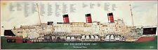 "RMS QUEEN MARY SECTIONAL VIEW FULL COLOR POSTER 11"" X 32"" VINTAGE REPRODUCTION!"