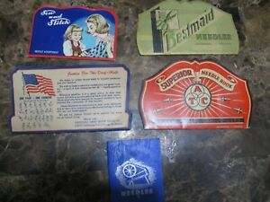 Vintage Sewing Needle Books, Set of 5, Excellent condition