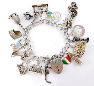 Vintage Sterling Silver Bracelet 'THE ITALIAN JOB' 19 Charms Hmk. 1968