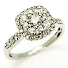 0.84ct Diamond 9ct White Gold Halo Engagement Ring - Size M 1/2 - Valued $2,985