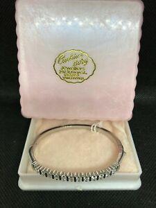 Vtg.Art Deco Silver-plate Lady Cuff Bangle Bracelet Cubic 12 Zirconia Gem-stones