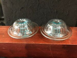Set Of 2 Depression Glass and Sterling Silver Overlay Candle Holders-756