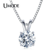 Trendy White Gold Clear Wedding Jewelry Umode Fashion Pendant Necklace for Women
