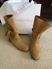 See By Chloe Cognac Suede Leather Studded Wraparound Boots Booties 40