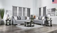 Modern Casual Look Comfortable Sofa Loveseat 2pc Set Cushion Seat Sloped Arms