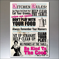 KITCHEN RULES extra large fridge magnet wall plaque size A4 21.0 x 29.7cms sign
