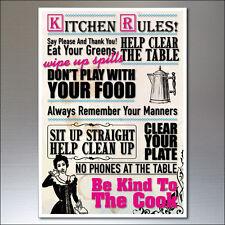 Reglas De Cocina Extra Grande FRIDGE MAGNET Placa de pared tamaño A4 21.0 X 29.7cms signo