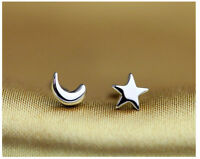 Shiny 925 Sterling Silver Plated Small Tiny Cute Star&Moon Stud Earrings Gift