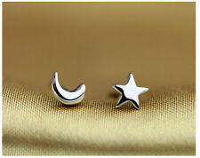 Shiny 925 Sterling Silver Plated Small Tiny Cute Star&Moon Stud Earrings Gift UK