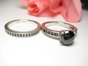 2 Fingerring Vorsteckring 925 Silber Onyx Ring 2 Stempel Schmuck Damen Gr. 56