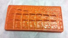 Genuine Crocodile Wallets Alligator Skin Tail Long Bifold Men's Orange Wallet