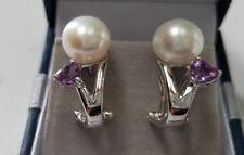 Genuine White 9mm Cultured Pearl Amethyst Earrings 925 Sterling Silver