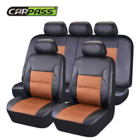 Universal Car Seat Covers Airbag PU Leather 40/60 50/50 60/40 Front Rear 11 PCS