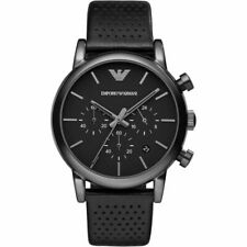 Emporio Armani AR1737 Dress Black Leather Chronograph 41mm Men's Watch