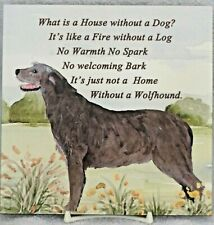 More details for irish wolfhound dog glossy hardboard plaque tile sandra coen artist print
