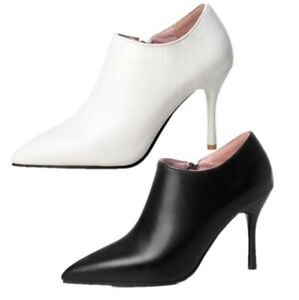 Sexy Womens Pump Zipper Pointed Toe Casual Stilettos High Heels Ankle Boots Size