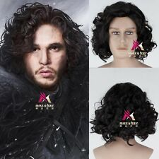 Game of Thrones Jon Snow Men Short Black Curly Hair Synthetic Cosplay Anime Wig