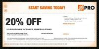 Home Depot 20% Off Coupon Paint Primer Stain In Store Only *FAST Exp In 2 Weeks