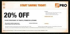 4 Home Depot 20% Off Coupon Paint Primer Stain In Store Only FAST SHIP 1/22/2018