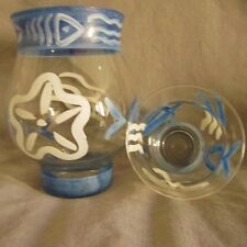Set of 3 seashore/ocean Clear Glass Hand Painted Hurricane Lamp Candle Holders