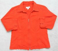 Orange Jacket Coat Christopher & Banks Zip Up Women's Dress Cotton Petite Medium