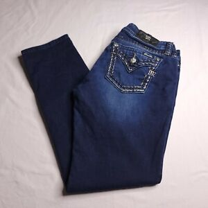 Miss Me Mid-Rise Skinny Size 32 Faux Flap Pockets Dark Wash Womens
