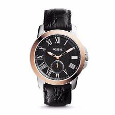 Fossil FS4943 Grant Croco Slim Black Leather Watch New Box